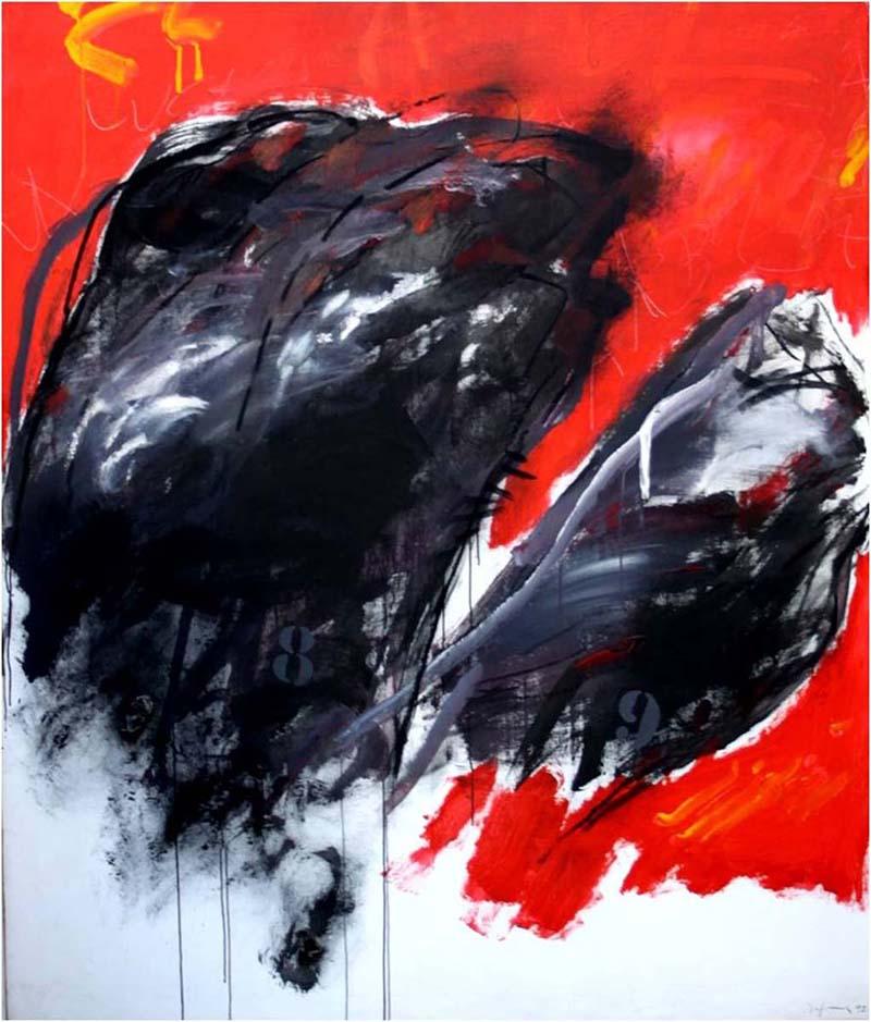 Arbolfuego, 1992 Acrylique et fusain sur toile 195 x 165 cm