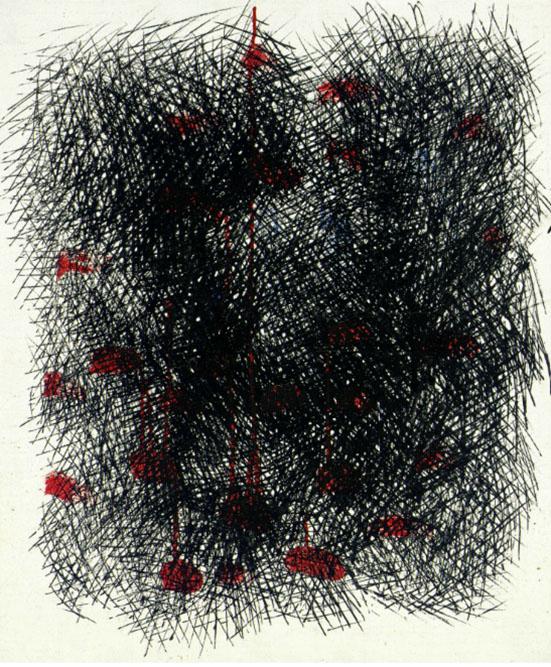 Abstrait vermillon et noir, 1965 Huile sur toile 55 x 46 cm