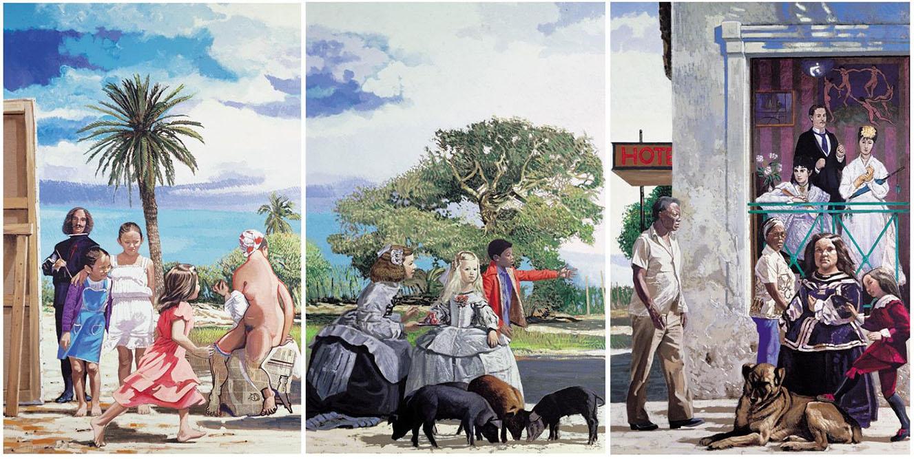 Triptyque Au sud (Vélasquez, Manet), 1985 Acrylique sur toile 195 x 390 cm