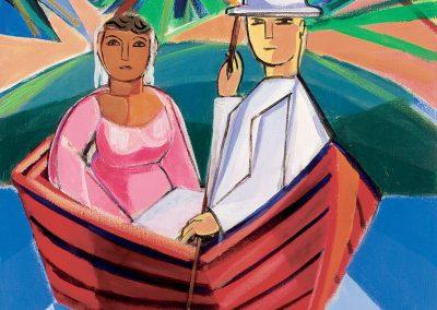 Casal do barco, 1970 Huile sur toile 65 x 54 cm