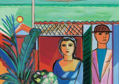 Casal da veranda, années 70 Huile sur toile 73 x 60 cm