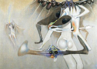 Catone-Hiboux, 1974 Acrylique sur toile 76 x 95 cm