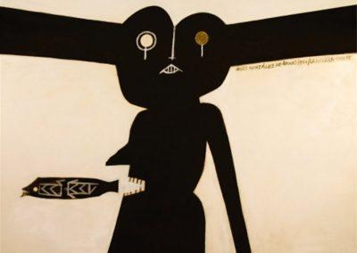 Cemi pleurer, 1990 Technique mixte sur toile 32 x 187 cm