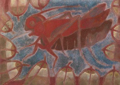 Chapulin, grillon et poissons, 1975 Technique mixte 31 x 41 cm