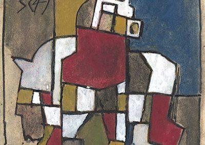 Chevaux, 1949 Gouache sur toile 14 x 10,5 cm