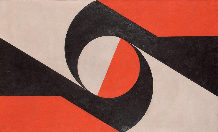 Composition au cercle rouge sur fond noir & blanc, 1972 Acrylique sur toile 78 x 126 cm