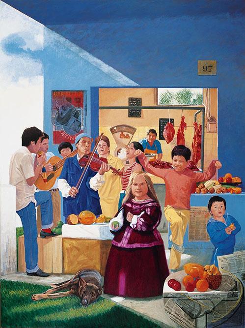 Concert au marché, 1997 Acrylique sur toile 168 x 126 cm