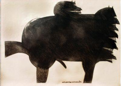 Conquistaro à cheval, 1986 Fusain sur papier 75 x 100 cm