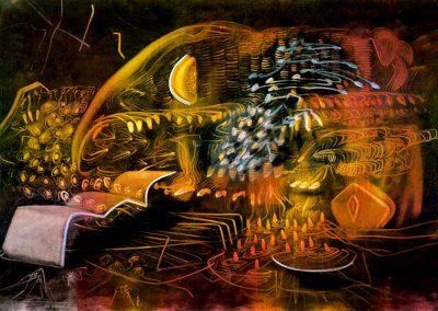 La coulée automatique, 1976 Huile sur toile 200 x 300 cm