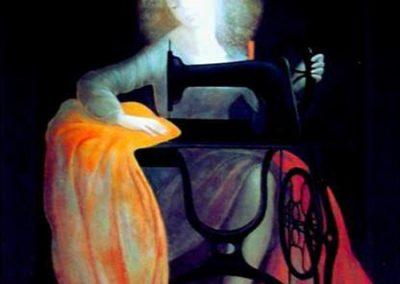 Couturière, 1978 Huile sur toile 50 x 85 cm