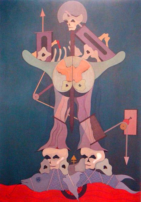 La danse de la mort, 1976 Huile sur toile 162 x 114 cm