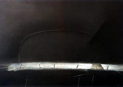 Espace cromlech à dominante horizontale, 1992 Technique mixte 55 x 81 cm