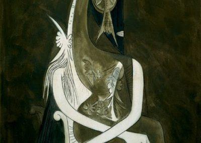 Femme assise, 1955 Technique mixte 130 x 98 cm