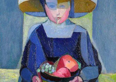 Petite fille aux fruits, 1915 Huile sur toile 50 x 41 cm