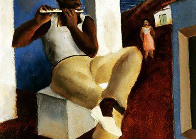 Flûtiste, 1934 Huile sur bois 46 x 38 cm