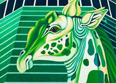 Girafe et Pan Am BG, 1973 Huile sur toile 93 x 73 cm