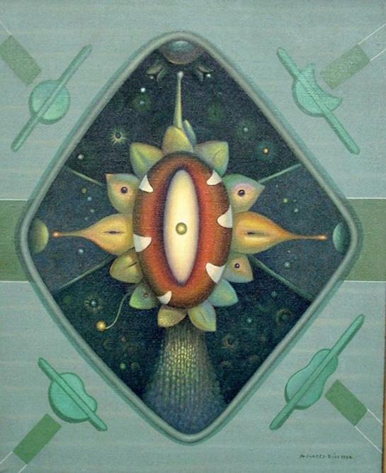 Graines cosmiques et quatre messages, 1980 Huile sur toile 65 x 50 cm