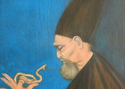 Homme au serpent, 1960 Huile sur toile 97 x 71 cm