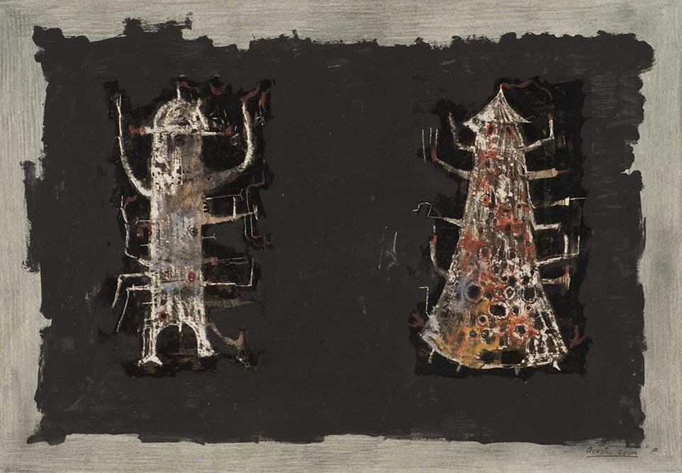 Homme et femme debout 1960  Gouache, encre & aquarelle sur papier  28 x 23 cm
