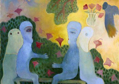 Homme, nature et ancêtres, 1998 Huile sur toile 49 x 49 cm