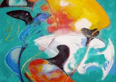 Jeu des nuages, 1999 Acrylique sur toile 55 × 46 cm