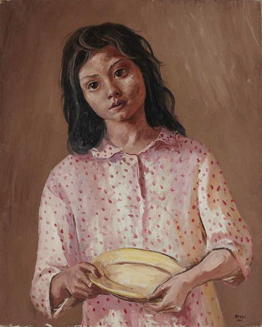 La fillette au plat, 1951 Huile sur toile 81 x 65 cm