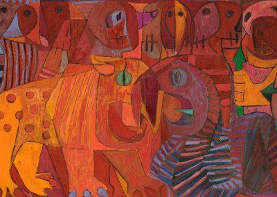 La guerre fleurie, 1958 Huile sur toile 113 x 268 cm