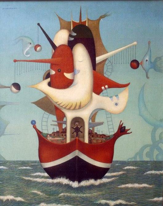Le Bateau de la Joie, 1970 Huile sur toile 100 x 81 cm