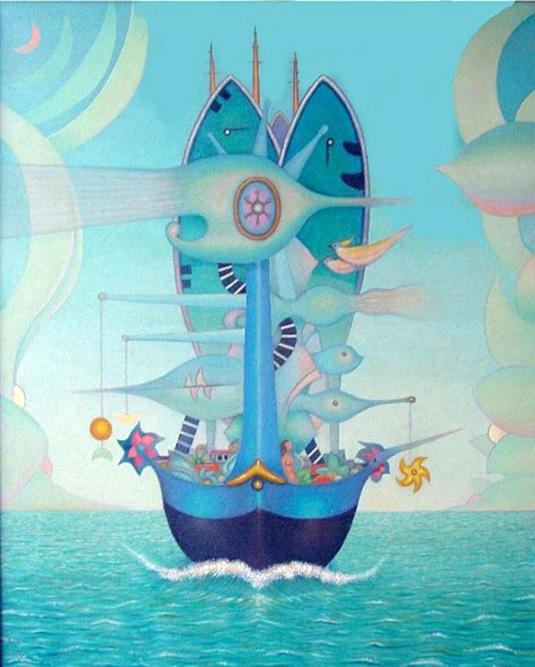 Le Bateau des Rêves, 1989 Huile sur toile 100 x 81 cm