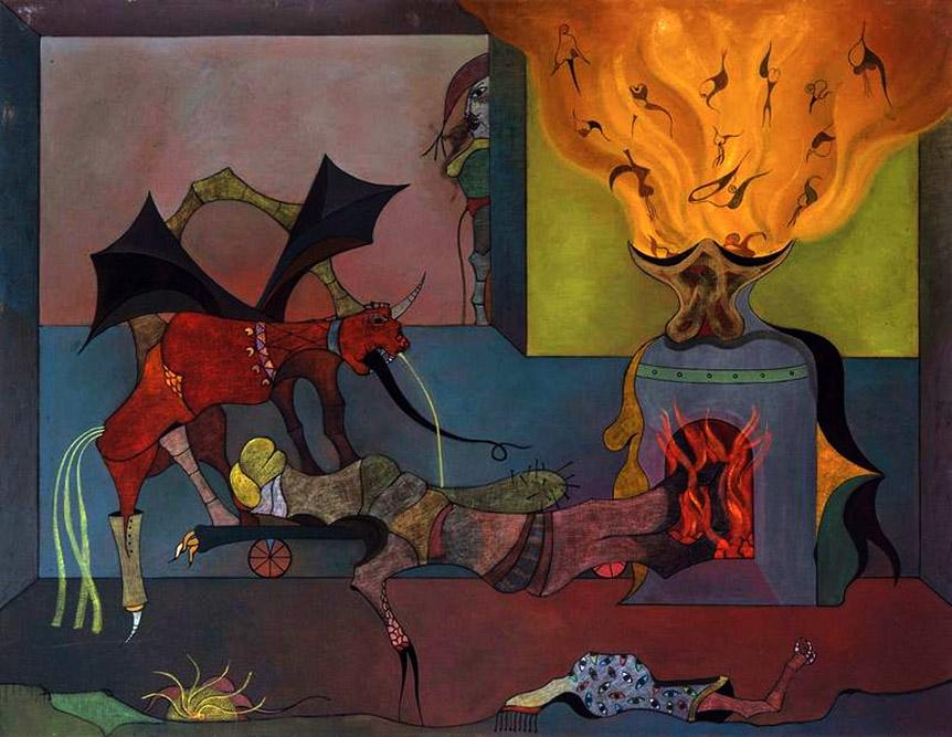 L'enfournement, 1965 Huile sur toile 114 x 146 cm