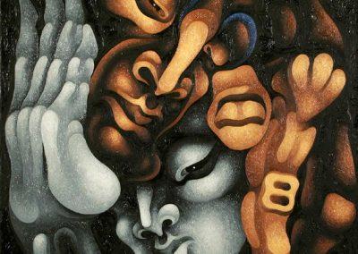 Amants, 1992 Huile sur toile 70 x 63 cm