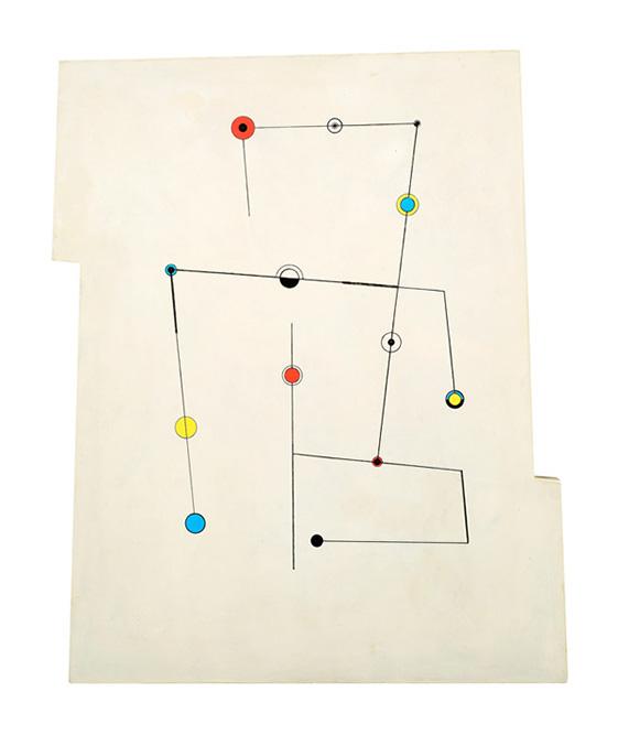 Lignes et points, 1950 Huile sur bois 55 x 44 cm