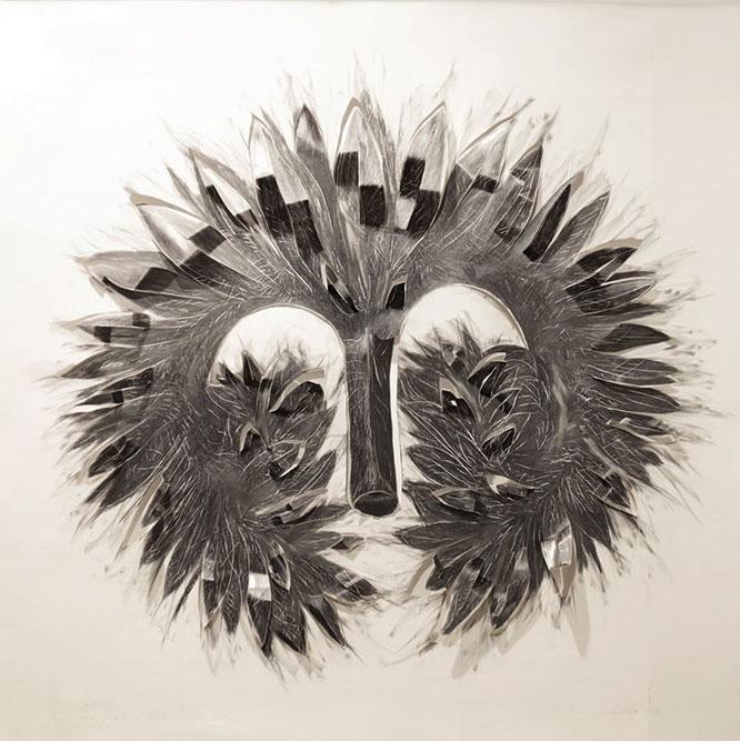 Masque 1, série Copiar Cortar, 2004 Graphite sur papier Canson 80 x 80 cm