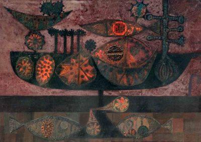 Nature morte, 1960 Huile sur toile 96 x 145 cm