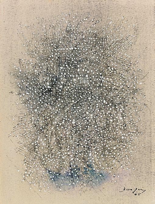 Neige sur la ville, 1965 Gouache sur papier 32 x 24 cm