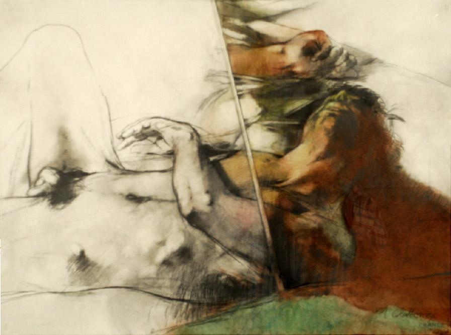 Nu couché, 1986 Technique mixte sur papier 57 x 75 cm