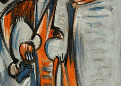 L'oiseau bleu l'ancêtre, 1977 Huile sur carton 101 x 70 cm