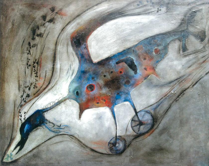 Pájaro Zunzun, 1963 huile sur Isorel  63 x 81 cm