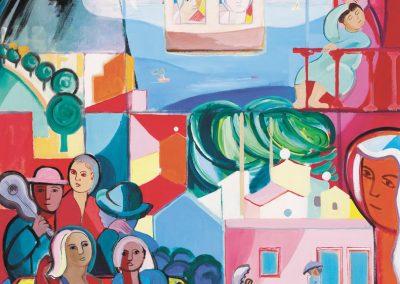 Paysage au téléphérique Pain de Sucre Huile sur toile 100 x 81 cm
