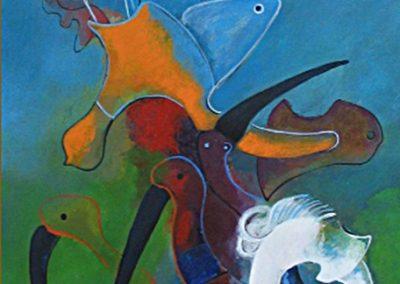 Petit ange bleu, 2004 Acrylique sur papier 47 × 33 cm