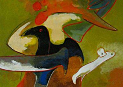 Petit oiseau magicien, 2003 Acrylique sur papier 57 x 38 cm