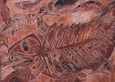 Poisson et crevette, 2002 Huile sur carton 45 x 60 cm