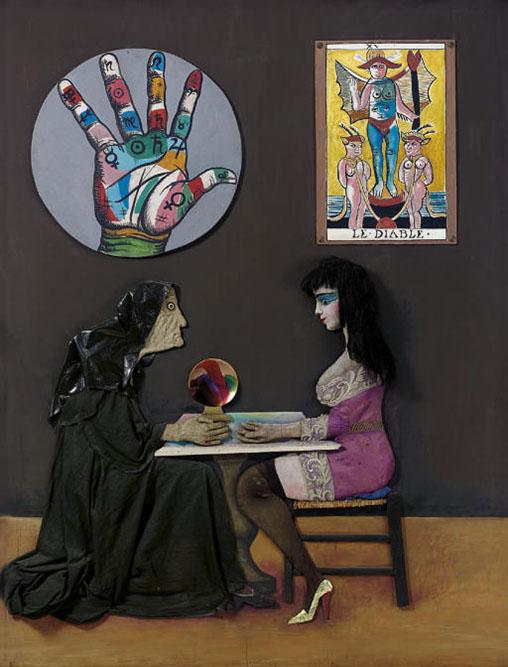 Ramona et la voyante, 1976 Technique mixte 210 x 160 cm