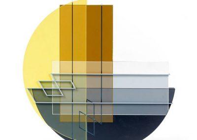 Relief ligne descriptive gris-bleu, 2010 Acrylique sur PVC 36 x 36 cm