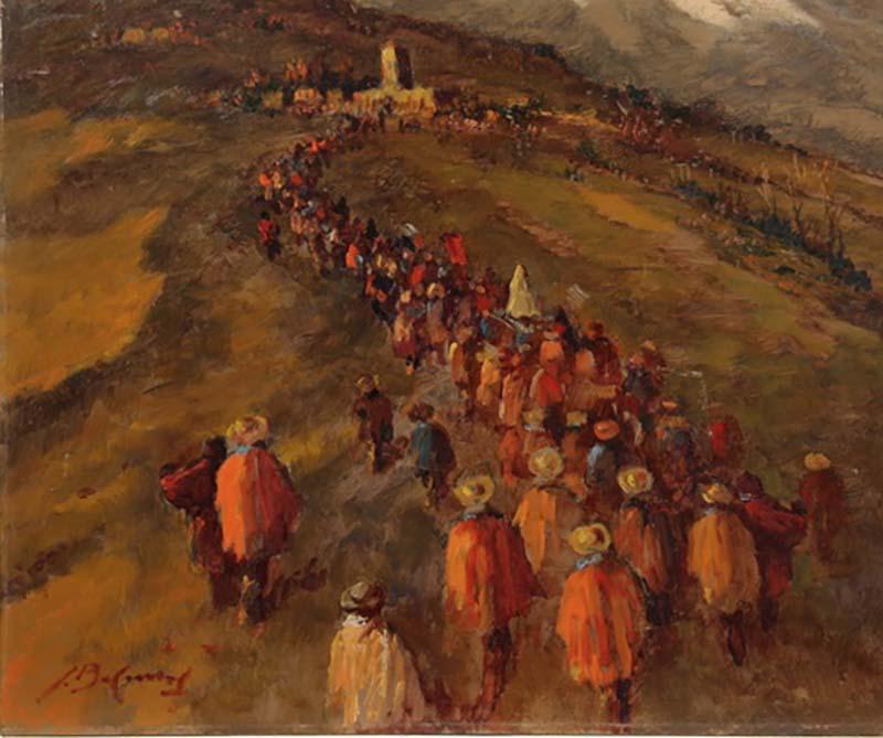 Procession religieuse Huile sur Isorel 49,5 x 59,7 cm