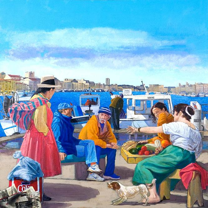 Rencontres inattendues au Vieux Port, 2008 Acrylique sur bois 146 x 146 cm