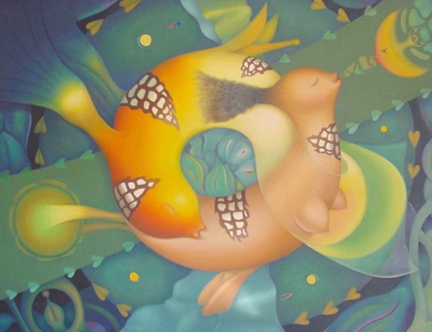 Sublime Tendresse, 1989 Huile sur toile 116 x 89 cm