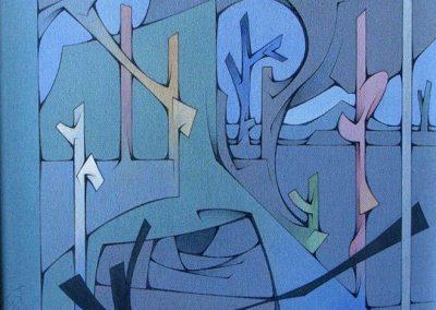 Tentative de paysage, 1990 Huile sur toile 50 x 50 cm