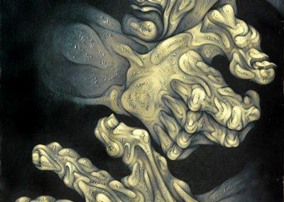 Tête et mains, 1990 Huile sur toile 100 x 73 cm