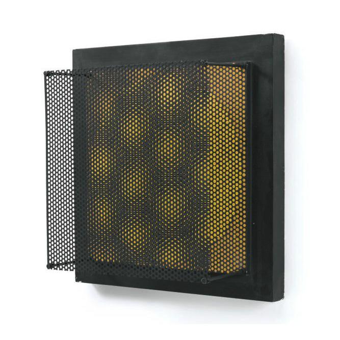 Vibration jaune et noire, 1968 Technique mixte 50 x 50 cm